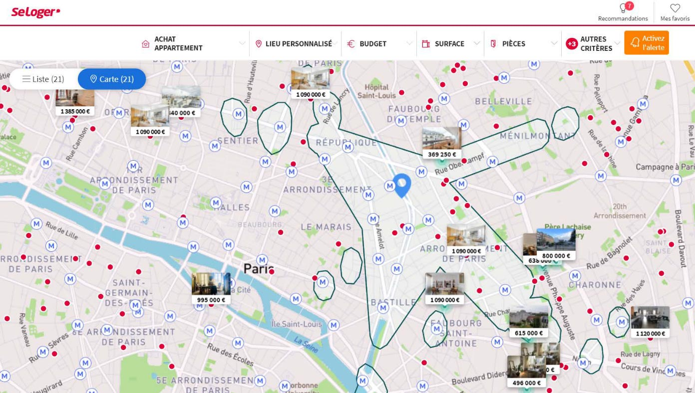French real estate platform SeLoger offers its clients a better search experience, allowing them to take into account travel times to their offices, gyms, childrens' schools and train stations.