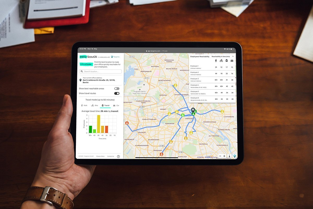 Targomo's tool on Germany's largest real estate portal, ImmoScout24: Short commute times thanks to OfficeFinder