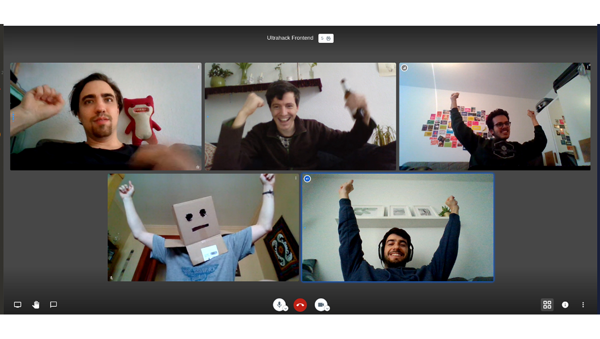 """Targomo engineers cheer after hearing they won an award during the """"Data against Covid-19"""" hackathon."""