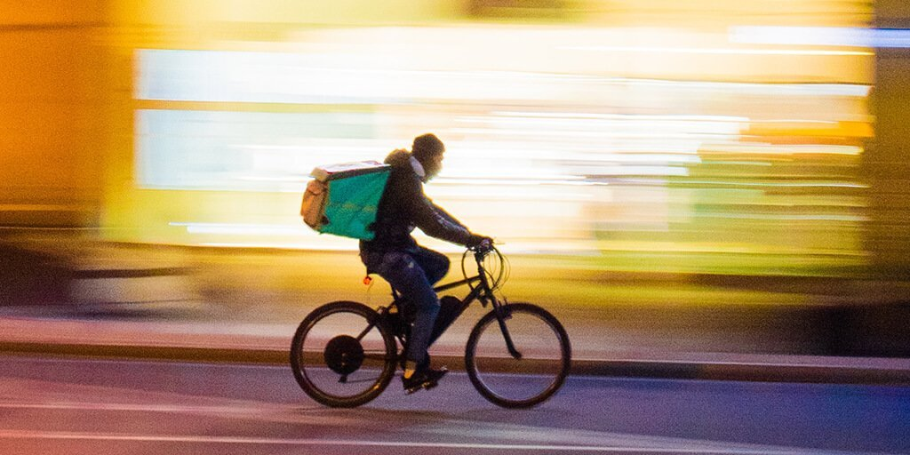 Groceries delivery by bike: Dispatched from a dark store or micro-fulfillment center.